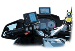 Photo of the MC-200 mounted on a BMW r1200RT motorcycle