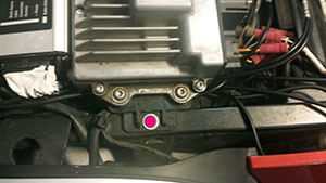 Photo from the Mark G installation of the MotoChello MC-200 motorcycle audio system on a BMW K1600 article
